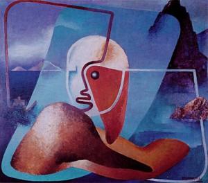 Enrico Prampolini, Ritratto di Marinetti, poeta del Golfo della Spezia, 1934